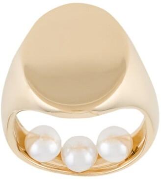 Maison Margiela Pearl-Embellished Signet Ring