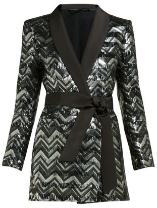 BLAZÉ MILANO Funky Fred Zigzag Silk-blend Blazer Mini Dress - Silver Multi