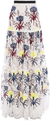 Erdem Tiered Embroidered Lace Maxi Skirt