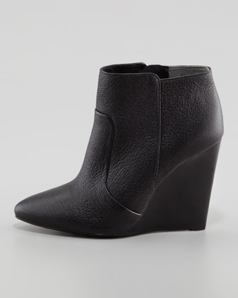 Tory Burch Lara Leather Pointy Wedge Bootie, Black