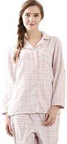 Qianxiu Women's Cotton Woven Pajama Soft Cardigan Sleepwear 2 Pieces Pants Set (XXL, )