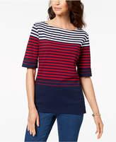 Karen Scott Cotton Stripe Elbow-Sleeve Top, Created for Macy's