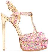 Casadei tweed T-bar platform sandals - women - Leather/Polyester/Kid Leather - 35