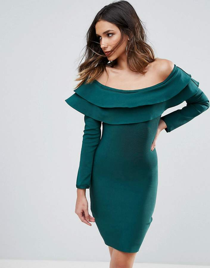 Wow Couture Exaggerated Frill Off Shoulder Mini Bandage Bodycon Dress