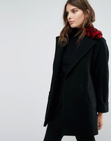 Helene Berman Yummy Coat with Faux Fur Leopard Collar