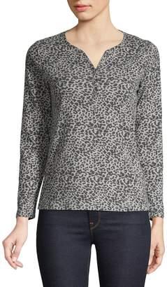 Karen Scott Petite Long-Sleeve Leopard-Print Henley Top