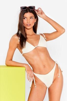 Nasty Gal Womens The Tied is High-Leg Triangle Bikini Set - Cream