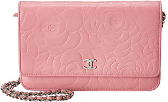 Chanel Pink Embossed Lambskin Leather Camelia Wallet On Chain
