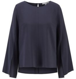 HUGO BOSS Crinkle Crepe Relaxed Fit Blouse With Slit Front Sleeves - Light Blue