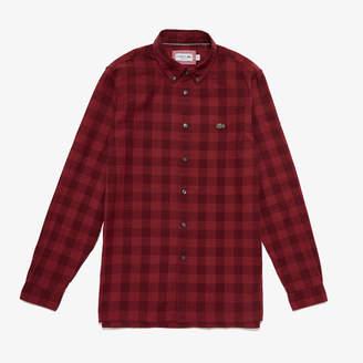 Lacoste Men's Regular Fit Check Cotton And Linen Canvas Shirt