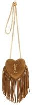 Saint Laurent Mini Love Heart Chain Fringed Suede Shoulder Bag