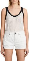 AllSaints Covey Cotton Linen Blend Vest, White/Blue