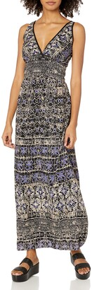 Angie Women's Blue Printed Maxi Dress Large