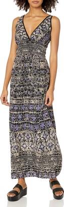 Angie Women's Blue Printed Maxi Dress Medium