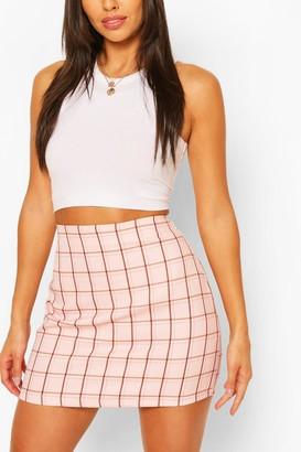 boohoo Pastel Check A Line Mini Skirt