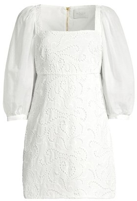 Azulu Bolivar Puff-Sleeve Eyelet Mini Dress