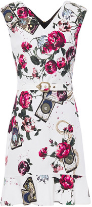 Roberto Cavalli Belted Floral-print Stretch-crepe Mini Dress