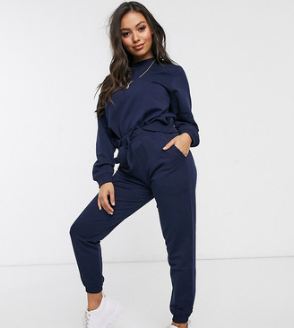 ASOS DESIGN Petite tracksuit ultimate sweat / jogger with tie in organic cotton