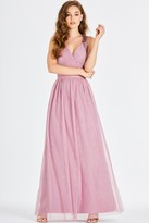 Little Mistress Bridesmaid Chandra Blush Sequin Trim Maxi Dress