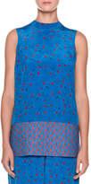 Marni High-Neck Sleeveless Printed Tunic Blouse