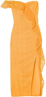 Rebecca Vallance Baha One-shoulder Guipure Lace Midi Dress
