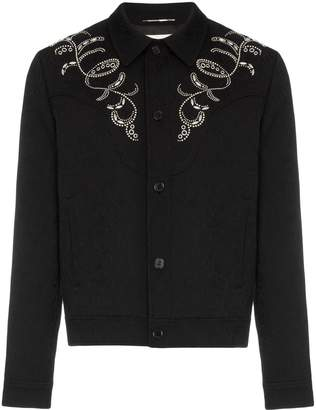 Saint Laurent Teddy western style embroidered jacquard print denim jacket