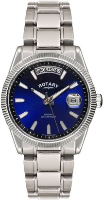 Rotary Men's Quartz Watch with Blue Dial Analogue Display and Silver Stainless Steel Bracelet GB02660/05