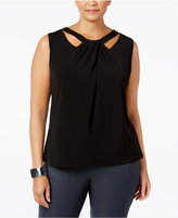 Nine West Plus Size Sleeveless Cutout Twist-Front Top