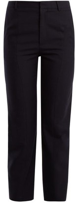 Vetements Logo-embroidered Straight-leg Wool Trousers - Womens - Navy