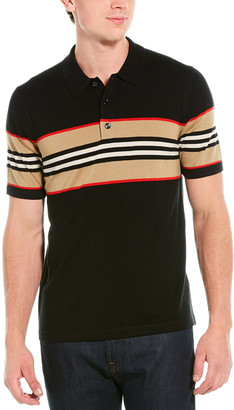 Burberry Icon Stripe Detail Wool-Blend Polo Shirt
