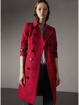 Burberry Leather Trim Cotton Gabardine Trench Coat , Size: 16, Red