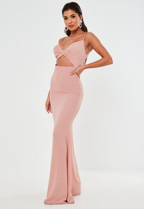 Missguided Blush Twist Front Cut Out Maxi Dress