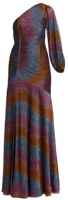ML Monique Lhuillier One-Shoulder Rainbow Shine Gown