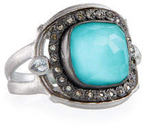 Armenta New World Cushion Turquoise & Quartz Doublet Ring
