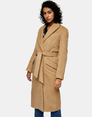 Topshop belted wool coat in camel