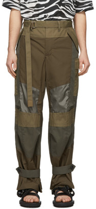 Sacai Khaki Fabric Combo Pants