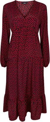 Wallis Red Leaf Print Puff Sleeve Midi Dress