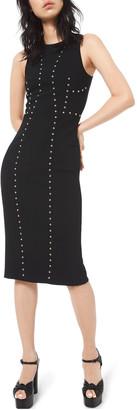 Michael Kors Studded Pebble-Crepe Dress