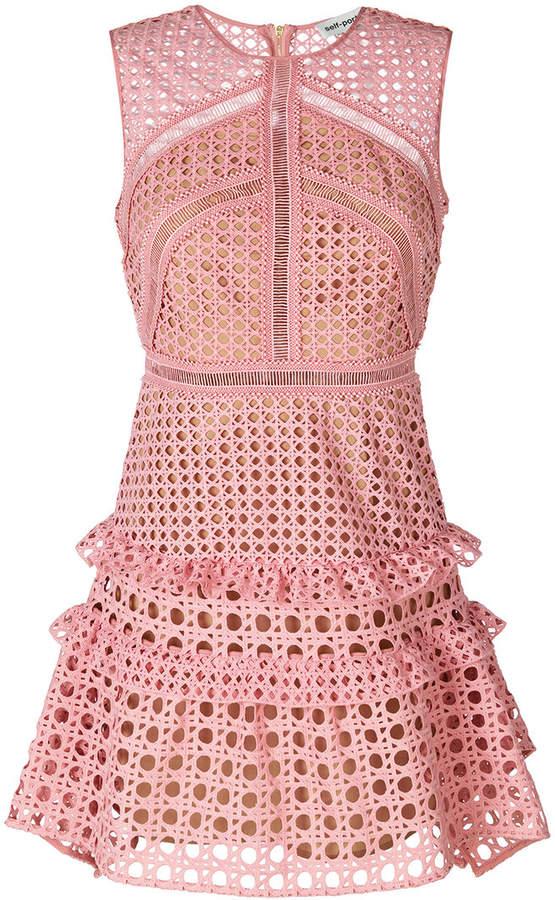 Self-Portrait crochet frill dress