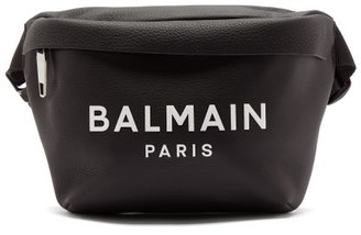 Balmain Logo-print Leather Belt Bag - Mens - Black
