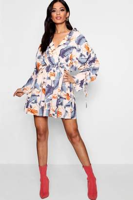 boohoo Daisy Ruched Sleeve Wrap Front Shirt Dress