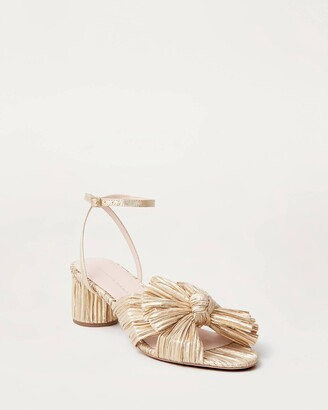 Loeffler Randall Dahlia Bow Low Heel with Ankle Strap Gold