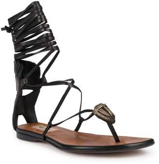 Valentino Garavani Tribe Gladiator Mask Leather Lace-Up Thong Sandals
