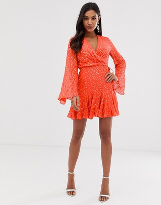 Asos Design DESIGN mini skater dress with long sleeve in all over scatter sequin