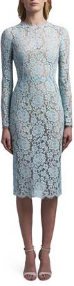 Dolce & Gabbana Lace Long-Sleeve Midi Dress