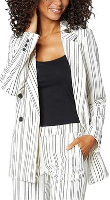 Liverpool Becca Double-Breasted Blazer (Gardenia/Caviar Black Abstract Stripe) Women's Clothing