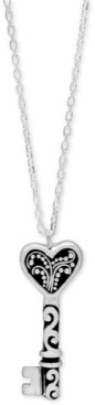 "Lois Hill Filigree Key Pendant Necklace in Sterling Silver, 16"" + 2"" extender"