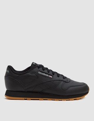 Reebok Women's CL Leather Sneaker in Black/Gum, Size 6.5 | Leather/Rubber/Synthetic