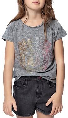 Zadig & Voltaire Girls' Deva Embellished Tee - Little Kid, Big Kid