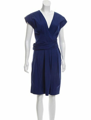 Prada Pleated Knee-Length Dress Royal